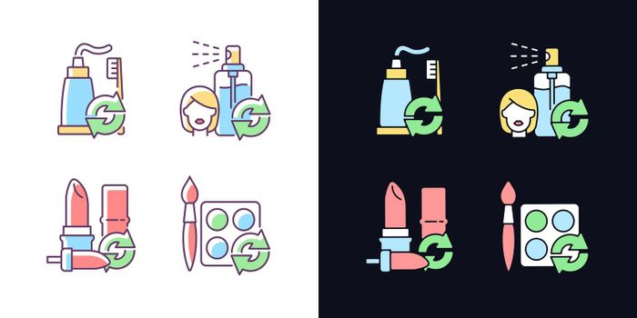 Refill and reuse light and dark theme RGB color icons set