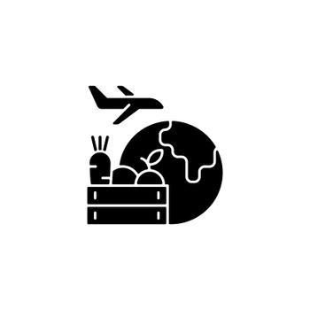 Agricultural products export black glyph icon