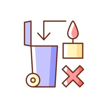 Never throw hot wax in trash bin RGB color manual label icon
