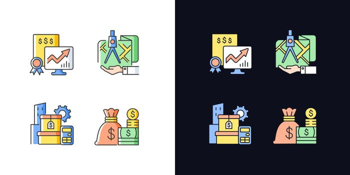 Assets management light and dark theme RGB color icons set