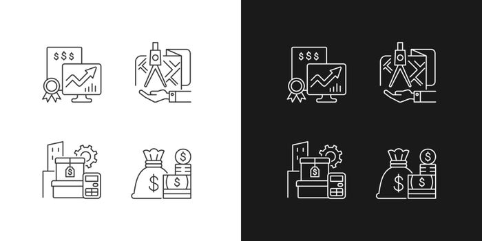 Assets management linear icons set for dark and light mode