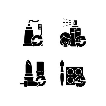 Refill and reuse black glyph icons set on white space
