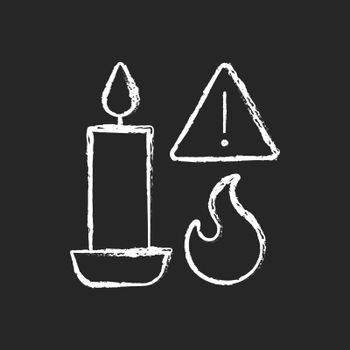Fire danger from candles chalk white manual label icon on dark background