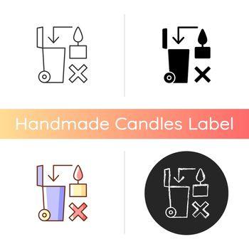 Never throw hot wax in trash bin manual label icon