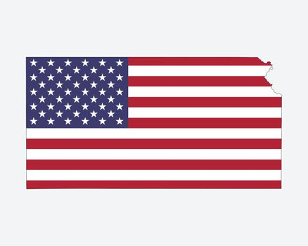 Kansas Map USA Flag