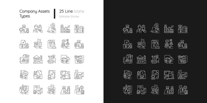 Business assets linear icons set for dark and light mode
