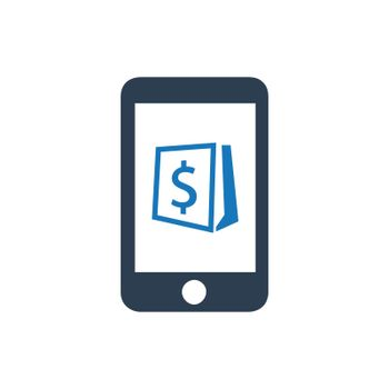 """Meticulously Designed """"Mobile Shopping icon. Meticulously designed vector EPS file."""""""