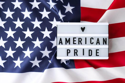 American flag. Lightbox with text AMERICAN PRIDE Flag of the united states of America. July 4th Independence Day. USA patriotism national holiday. Usa proud.
