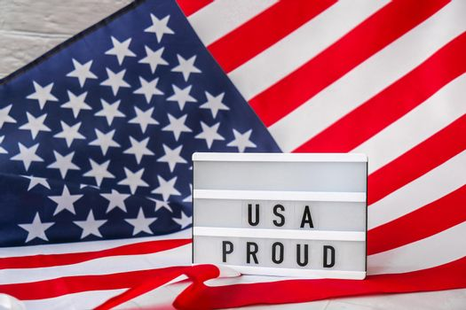 American flag. Lightbox with text USA PROUD Flag of the united states of America. July 4th Independence Day. USA patriotism national holiday. Usa proud.