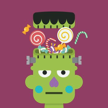 Green zombie head with sweet candy