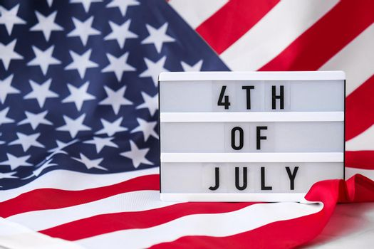 American flag. Lightbox with text 4TH OF JULY Flag of the united states of America. July 4th Independence Day. USA patriotism national holiday. Usa proud.