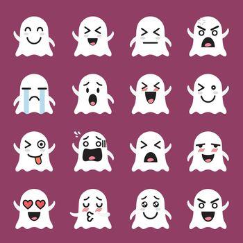 Ghost emoji emoticon set