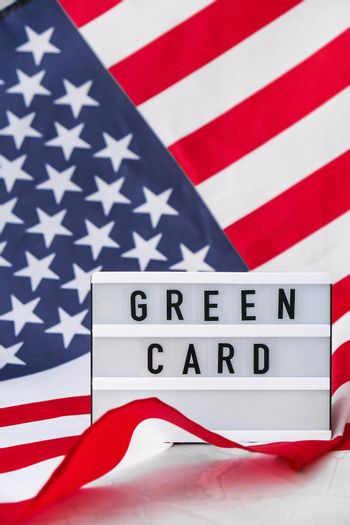 American flag. Lightbox with text GREEN CARD Flag of the united states of America. July 4th Independence Day. USA patriotism national holiday. Usa proud.