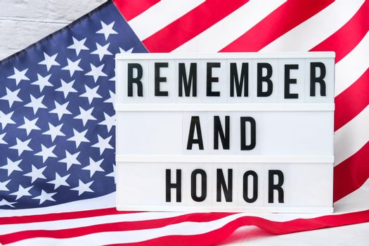 American flag. Lightbox with text REMEMBER AND HONOR Flag of the united states of America. July 4th Independence Day. USA patriotism national holiday. Usa proud.