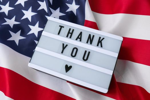 American flag. Lightbox with text THANK YOU Flag of the united states of America. July 4th Independence Day. USA patriotism national holiday. Usa proud.