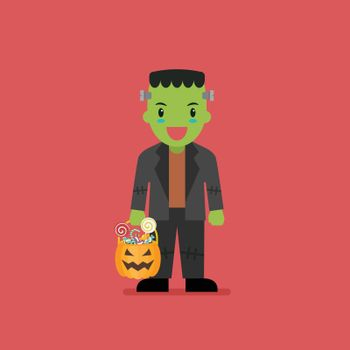 Boy with pumpkin basket dressed in green zombie costume