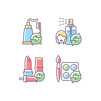 Refill and reuse RGB color icons set