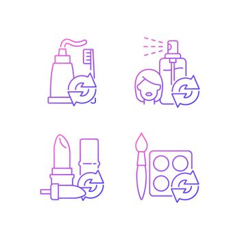 Refill and reuse gradient linear vector icons set