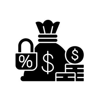 Fixed deposit black glyph icon