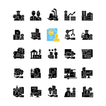 Business assets black glyph icons set on white space