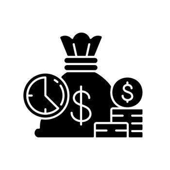 Short term deposit black glyph icon