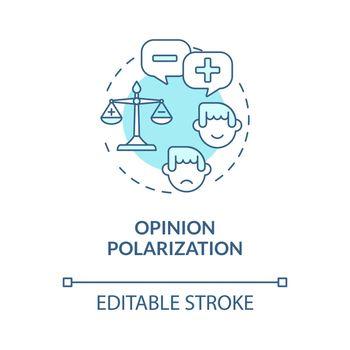 Opinion polarization blue concept icon
