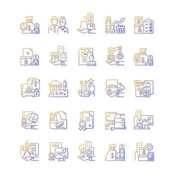 Business assets gradient linear vector icons set