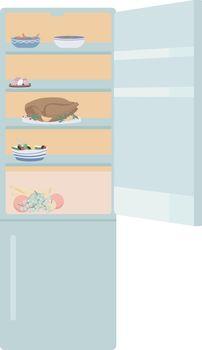 Open door refrigerator semi flat color vector object