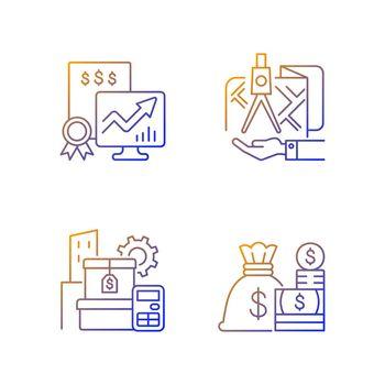 Assets management gradient linear vector icons set