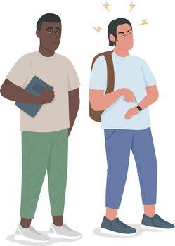 Punctual guy expresses irritation semi flat color vector characters