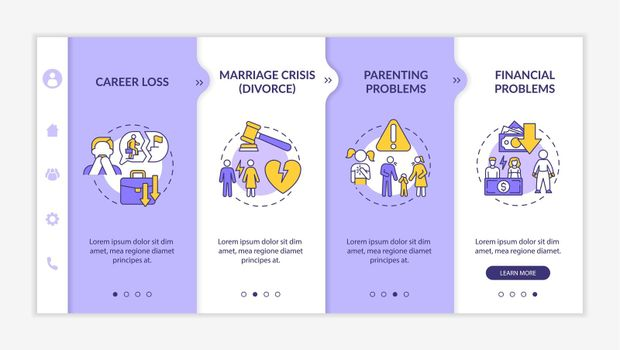 Parenting problems onboarding vector template