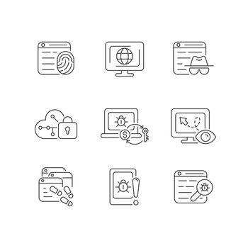 Online behavior monitoring linear icons set