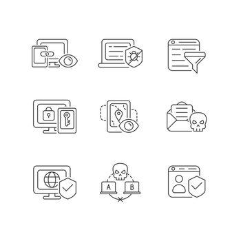 Internet surveillance linear icons set