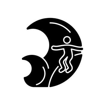 Big wave surfing black glyph icon