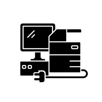 Technical equipment black glyph icon