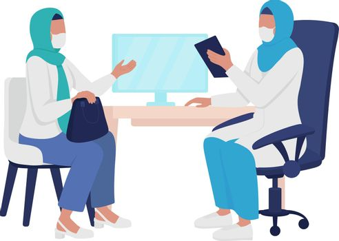 Physician-patient interaction semi flat color vector characters