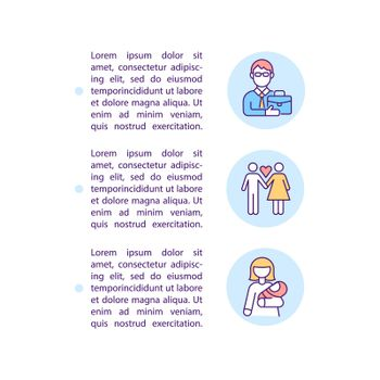 Starting a family concept line icons with text