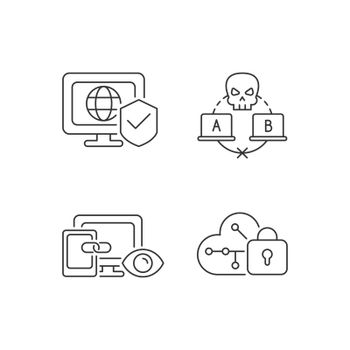 Internet privacy linear icons set