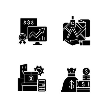 Assets management black glyph icons set on white space