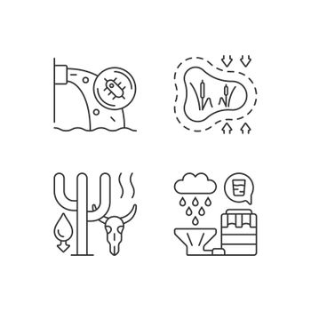Worldwide rising water demand linear icons set