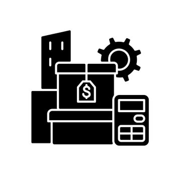 Assets management black glyph icon