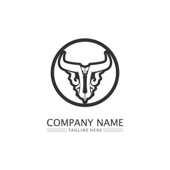 Bull buffalo head cow animal  mascot logo design vector for sport horn buffalo animal mammals head logo wild matador
