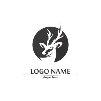 deer logo animal and mammal design and graphic vector
