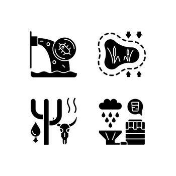 Worldwide rising water demand black glyph icons set on white space