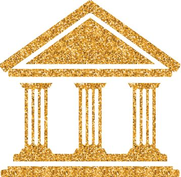 Gold Glitter Icon - Bank building