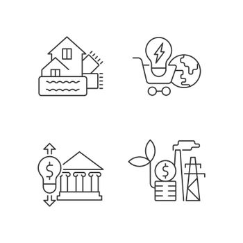 Renewable electrical energy cost linear icons set