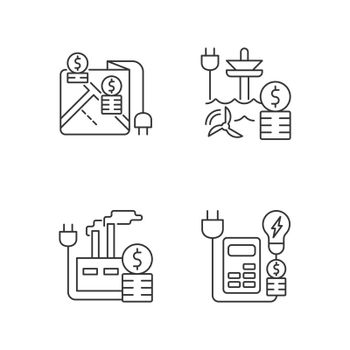 Electrical energy purchase expense linear icons set
