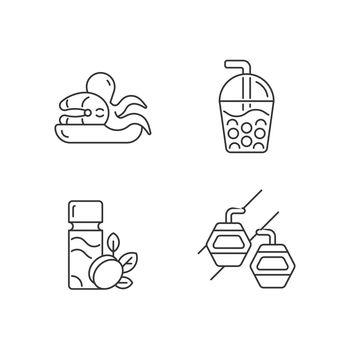 Taiwan entertainment linear icons set
