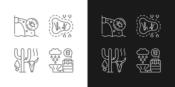 Rising water demand linear icons set for dark and light mode
