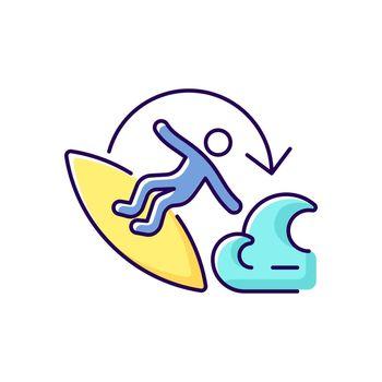 Carve surfing maneuver RGB color icon